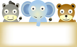 Animals cartoon with blank sign Stock Images