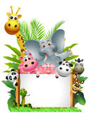 Animals cartoon with blank sign Stock Image