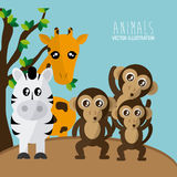 Animals cartoon design. Animal concept with cartoon icons design, vector illustration 10 eps graphic Royalty Free Stock Photos
