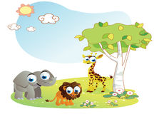 Animals cartoon with garden background Royalty Free Stock Photo