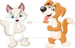 Animals cartoon holding blank sign Stock Image