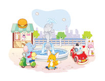 Animals cartoon playing in the park Stock Image