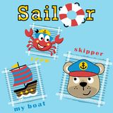 Bear the sailor and crab his crew with sailboat, vector cartoon illustration Stock Image