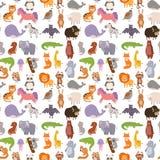 Animals cartoon wildlife nature seamless pattern background jungle texture bird colorful retro wallpaper vector Royalty Free Stock Image