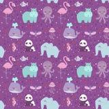 Animals cartoon wildlife nature seamless pattern jungle texture bird colorful retro wallpaper vector. Illustration. Zoo cute funny design hippopotamus print vector illustration