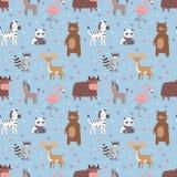 Animals cartoon wildlife nature seamless pattern jungle texture bird colorful retro wallpaper vector. Illustration. Zoo cute funny design hippopotamus print stock illustration