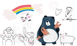 Animals from cartoons. Bear, crow, rabbits, sheep. Rainbow, sun, clouds. Over white background animals from cartoons. Funny bear with fish under the paw, crow Stock Photography
