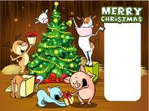 Animals celebrate Christmas - vector xmas card. Animals celebrate Christmas - vector illustration xmas card Stock Photos