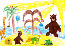 Animals celebrate the new year on a tropical beach. children drawing Royalty Free Stock Photos