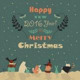 Animals celebrating Christmas. Vector christmas greeting card Royalty Free Stock Photo