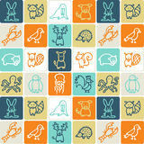 Animals checked pattern royalty free stock image