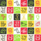 Animals checked pattern Stock Photo