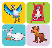 Animals children's drawing. Our happy and lovley pets Royalty Free Stock Photos