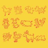12 Animals of Chinese Calendar. Cartoon style. Symbols of Chinese horoscope Royalty Free Illustration