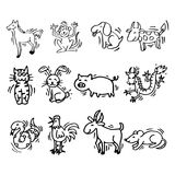 12 Animals of Chinese Calendar. Cartoon style. Symbols of Chinese horoscope Stock Illustration
