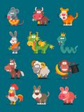 12 Animals Chinese Zodiac. Vector illustration. Set Characters. Mascot Pack Stock Images