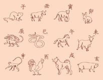 12 animals of the Chinese zodiac calendar. The symbols of the New Year, Eastern calendar. Sketch pencil. Drawing by hand. Vintage colors. Vector image Royalty Free Stock Images