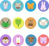 12 animals of the chinese zodiac, dummy face, and illustration stock illustration