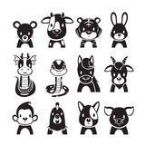12 Animals Chinese Zodiac Signs Icons Set, Monochrome. Horoscope Astrological Constellation Eastern Fortunetelling vector illustration