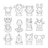 12 Animals Chinese Zodiac Signs Outline Icons Set. Horoscope Astrological Constellation Eastern Fortunetelling Stock Images