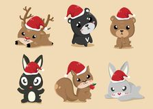 Animals in Christmas Day. These cute animals put on Santa Claus`s hat on Christmas Day vector illustration