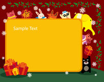 Animals christmas frame Royalty Free Stock Images