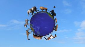 Animals circle the world globe. In front on blue sky vector illustration