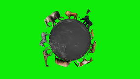 Animals circle the world globe - green screen