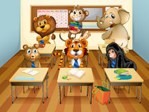 Animals in classroom Royalty Free Stock Photos