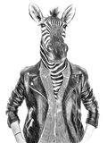 Animals in clothes. People with heads of animals. Zeebra. Concept graphic, drawing  for cover, advertising, prints on clothing and. Other