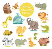 Animals. Collection of cute cartoon animals. Hand drawn. Isolated on a white background vector illustration