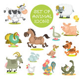 Animals. Collection of cute cartoon animals. Set of icons pets. Hand drawn. Isolated on a white background vector illustration