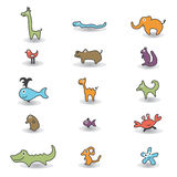 Animals colored icons. Colored animals for kids with shadow Royalty Free Illustration