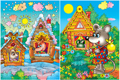 Animals in colorful houses. Cartoon illustration of animals in houses with colorful flowers and winter snow Royalty Free Stock Photography