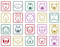 Animals colorful icons Stock Images