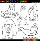 Animals for Coloring Book or Page. Coloring Book or Page Cartoon Illustration of Funny Marine and Polar Animals for Children Stock Photos
