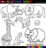Animals for Coloring Book or Page. Coloring Book or Page Cartoon Illustration of Funny Wild and Safari Animals for Children Stock Images