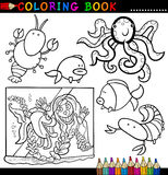 Animals for Coloring Book or Page. Coloring Book or Page Cartoon Illustration of Funny Marine Animals and Sea Life for Children Stock Photo