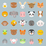 Animals cute baby cartoon cubs flat design head icons set character vector illustration Royalty Free Stock Image