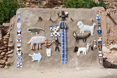Animals and Dogon masks. Representation on the wall of animals and Dogon masks, Mali (Africa Royalty Free Stock Photo