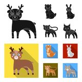Animals, domestic, wild and other web icon in black,flat style. Zoo, toys, children, icons in set collection. Animals, domestic, wild and other icon in black Vector Illustration