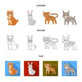 Animals, domestic, wild and other web icon in cartoon,outline,flat style. Zoo, toys, children, icons in set collection. Animals, domestic, wild and other icon Stock Illustration
