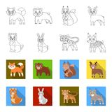 Animals, domestic, wild and other web icon in outline,flet style. Zoo, toys, children, icons in set collection. Animals, domestic, wild and other  icon in Royalty Free Stock Photo