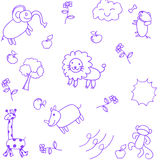 Animals doodle set Royalty Free Stock Images