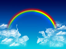 Animals dream. Whit rainbow blue composition Stock Images