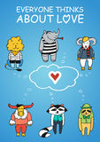 Animals dreams about love. Color vector illustration. Stock Images
