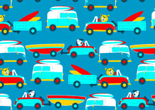 Animals driving to the beach beep beep repeat pattern Stock Photo