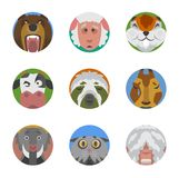 Animals emotions icons vector set. Royalty Free Stock Photo