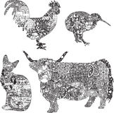 Animals in ethnic ornaments Stock Image