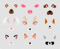 Animals face masks set on transparent. Animals masks. Face masking for masquerade, rabbit and bear, dog, and fox cute halloween head mask set isolated on royalty free illustration